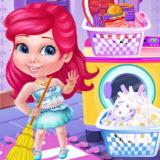 Baby Princess Washing Clothes